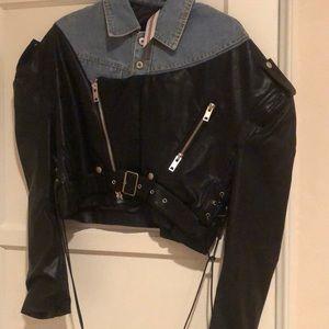 Jean jacket faux leather